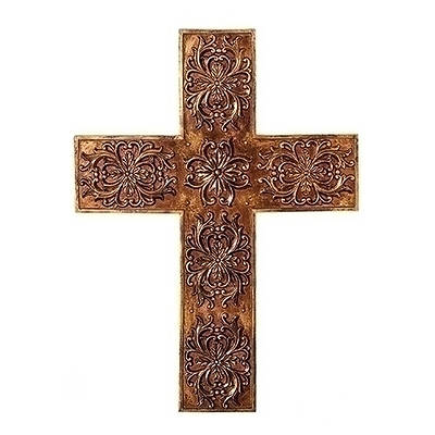 """Picture of Gold Leafed Wall Cross 17""""H"""