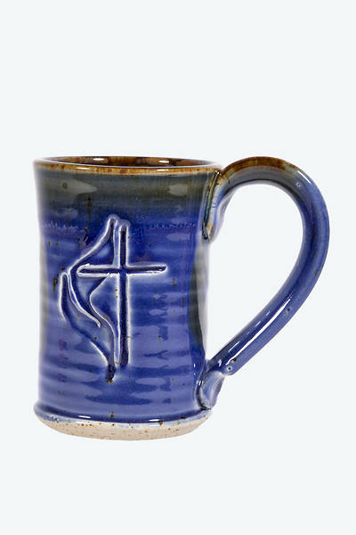 Cross & Flame Handmade Blue Ceramic Mug