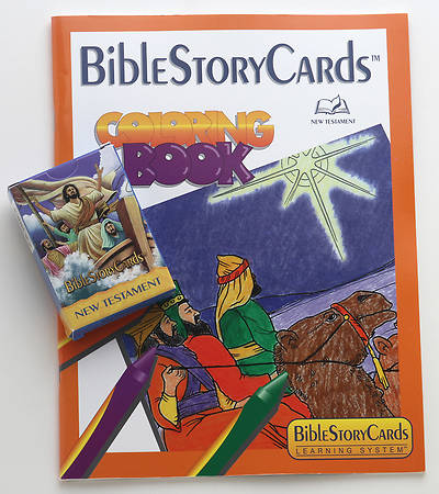 BibleStoryCards New Testament Coloring Book and Card Pack Combo