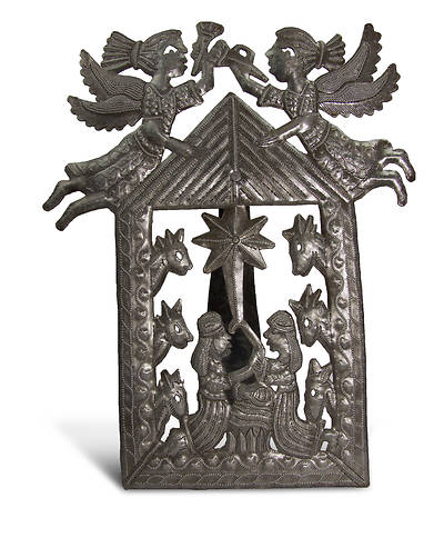 Metal Angel Nativity with Easel-Medium