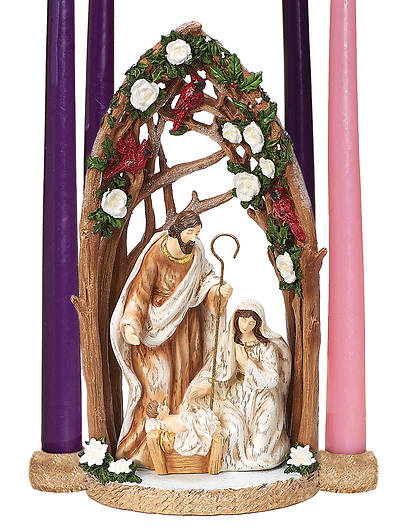 Picture of Holy Family with Cardinal Candle Holder