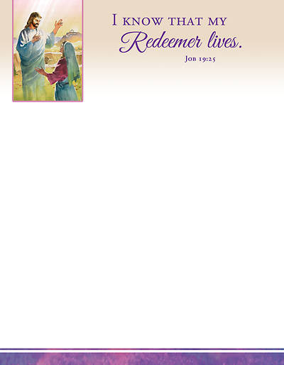 Picture of I Know That My Redeemer Lives Easter Letterhead (Pkg of 100)