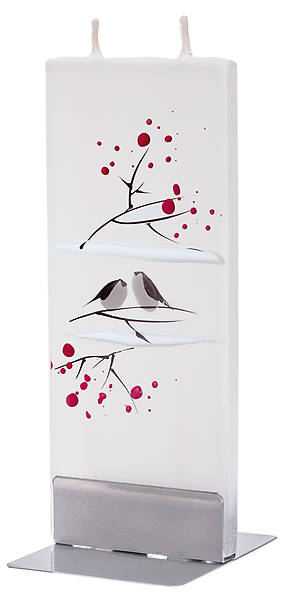 Picture of Handmade Flat Candle Winter Birds White