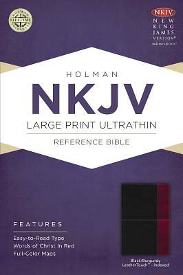 NKJV Large Print Ultrathin Reference Bible, Black/Burgundy Leathertouch Indexed