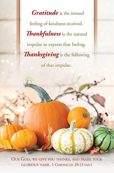 Gratitude, Thankfulness, Thanksgiving Regular Size Bulletin