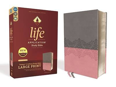 Niv, Life Application Study Bible, Third Edition, Large Print, Leathersoft, Gray/Pink, Red Letter Edition