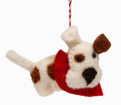 Picture of Wool Felt Dog Brown Spots & Red Scarf Ornament