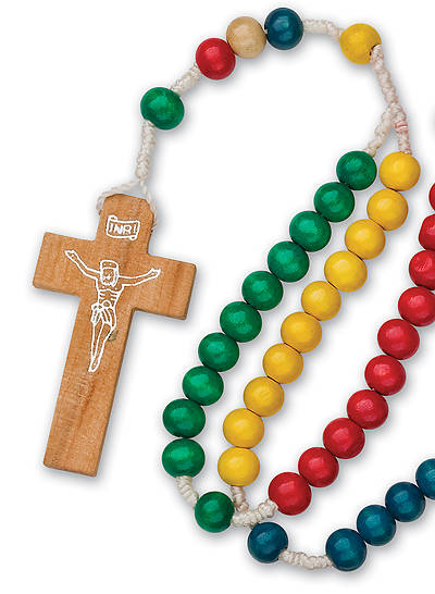 ROSARY 5 COLORS OF WOOD BEADS