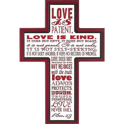 Picture of Love is Patient - Stacked Cross Plaque