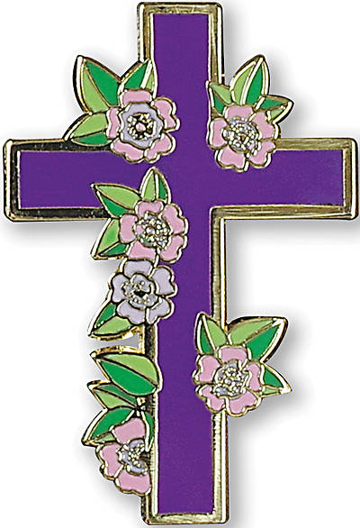 Floral Cross Hard Enamel Pin
