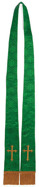 Stole Green Brocade Gold Cross Tapered Collegiate