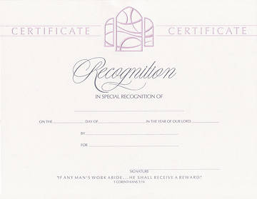 Foil-Embossed  Special Recognition Flat Certificate (Package of 6)