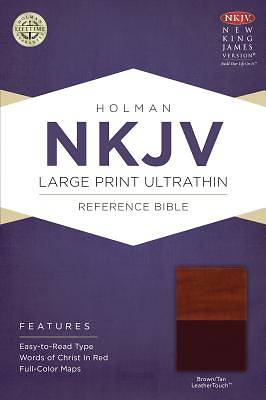NKJV Large Print Ultrathin Reference Bible, Brown/Tan Leathertouch
