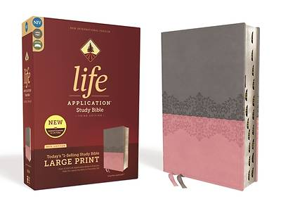 Niv, Life Application Study Bible, Third Edition, Large Print, Leathersoft, Gray/Pink, Indexed, Red Letter Edition