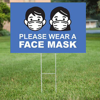 Picture of Please Wear Face Mask Yard Sign - 2 Pack