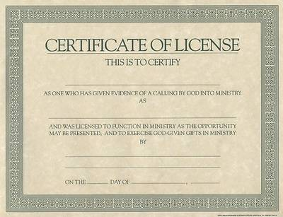 Canny image pertaining to free printable minister license certificate