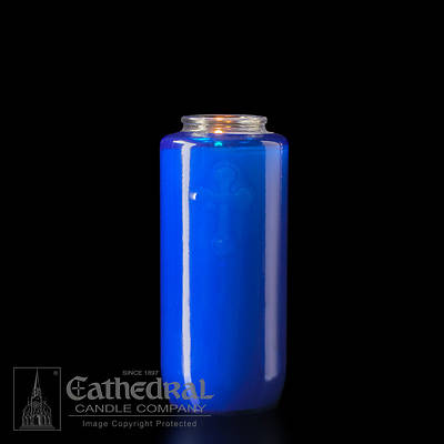 Cathedral 5-Day Glass Offering Candle - Blue