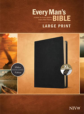 Picture of Every Man's Bible Niv, Large Print (Genuine Leather, Black, Indexed)
