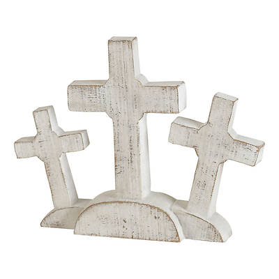 Picture of Tabletop Whitewashed Calvary Cross Figurine