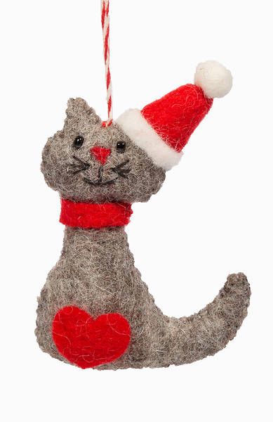 Picture of Wool Felt Cat in Santa Hat Ornament