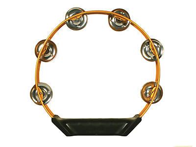 """Picture of Orange Aluminum Tambourine - 8"""""""