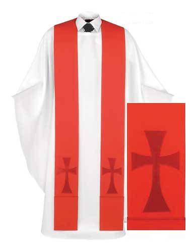 Red Pure and Simple Cross Stole
