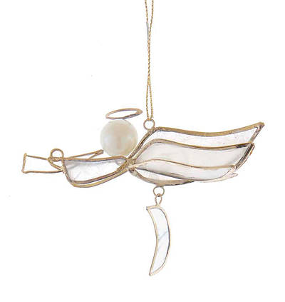 Picture of Capiz Dangling Musical Angel Ornament - Horn and Half Moon