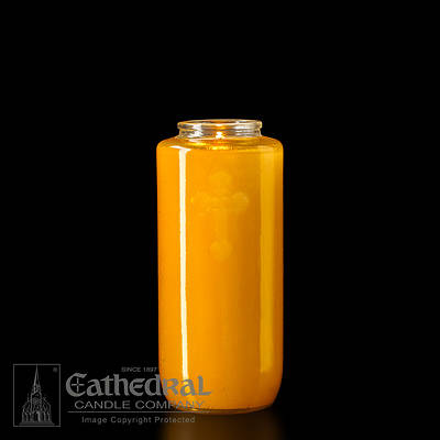 Picture of Cathedral 5-Day Glass Offering Candle - Amber