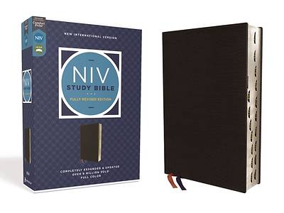 Picture of NIV Study Bible, Fully Revised Edition, Bonded Leather, Black, Red Letter, Thumb Indexed, Comfort Print