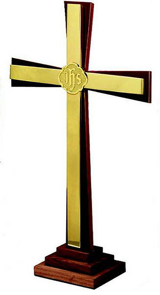 "Solid Walnut and Brass 24"" Cross"