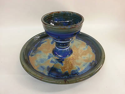 Earthenware Dark Blue All-In-One Communion Set