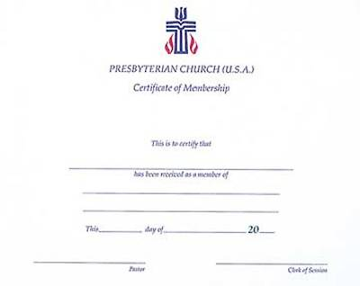 Presbyterian Church Membership Certificate