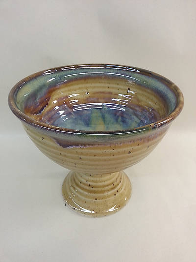 Baptismal Bowl on Pedestal Earthenware Brown