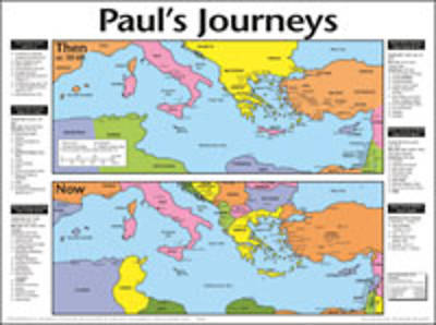 Pauls Journeys: Then And Now Bible Map® - Wall Map - Laminated
