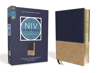 Picture of NIV Study Bible, Fully Revised Edition, Leathersoft, Navy/Tan, Red Letter, Comfort Print