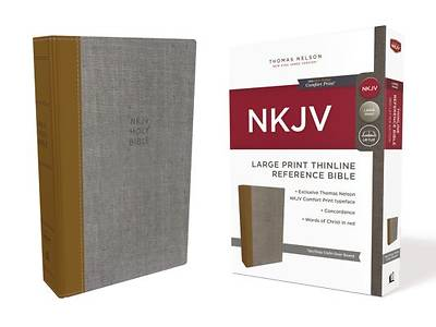 Picture of NKJV, Thinline Reference Bible, Large Print, Cloth Over Board, Tan/Gray, Red Letter Edition, Comfort Print