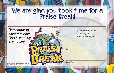 Vacation Bible School (VBS) 2014 Praise Break Student Certificates (Pkg of 25)