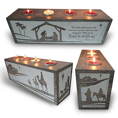 Picture of God Is With Us Advent Block with Tea Lights Boxed