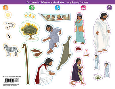 Picture of Vacation Bible School (VBS) 2021 Discovery on Adventure Island Bible Story Activity Stickers (Pkg of 6)