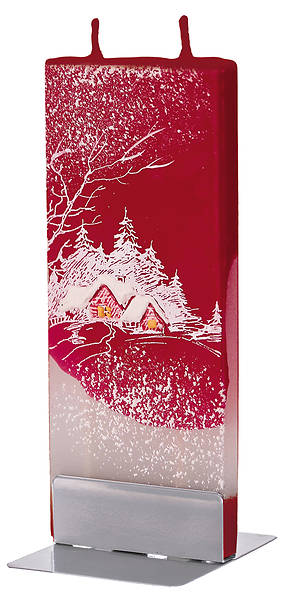 Picture of Handmade Flat Candle Winter Cottage Red
