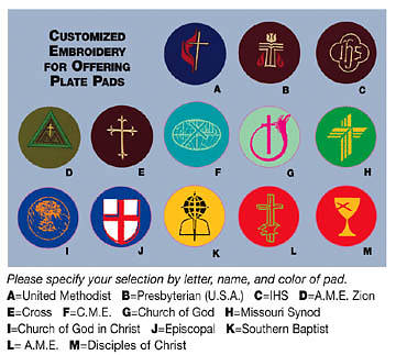 Mats; Denominational Symbol Embroidered  (Set of 4)