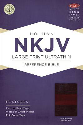 NKJV Large Print Ultrathin Reference Bible, Saddle Brown Leathertouch