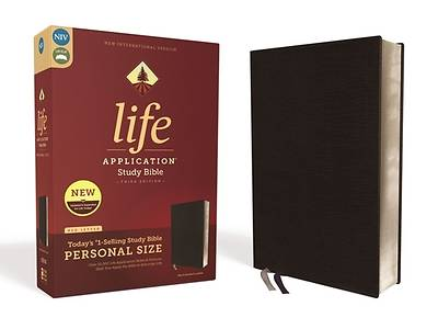 Picture of NIV Life Application Study Bible, Third Edition, Personal Size, Bonded Leather, Black, Red Letter Edition
