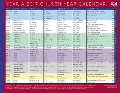 Church Year Calendar 2017, Year A