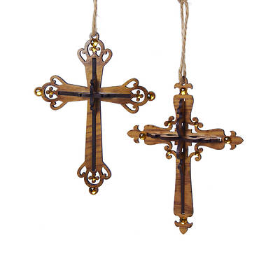 Wooden Western Brown Cross Ornament 6.5