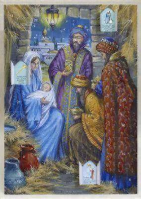 Traditional Manger Scene (Includes Bible text with pictures. Includes envelope)