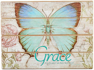 Picture of Plaque Wall Wood Btfly Grace E