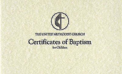 The United Methodist Church Certificates of Baptism for Children (Pad of 26)
