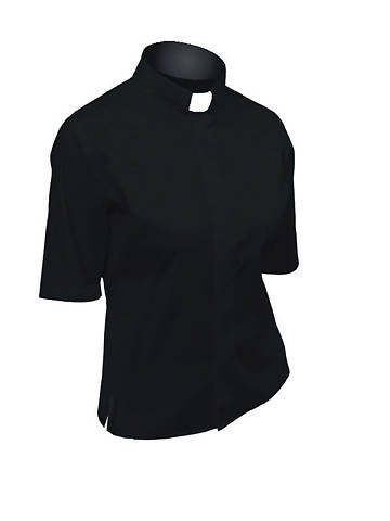 Picture of Lydia Short Sleeve Clergy Blouse with Tab Collar BLACK - 20