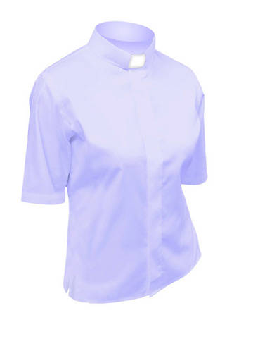 Picture of Lydia Short Sleeve Clergy Blouse with Tab Collar LILAC - 14